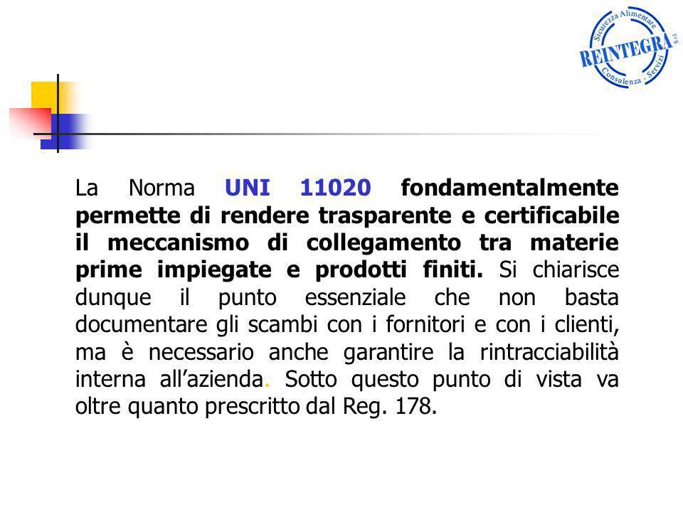 La Norma UNI 11020 fondamentalmente permette di rendere trasparente e certificabile il meccanismo di collegamento tra materie prime impiegate e prodot