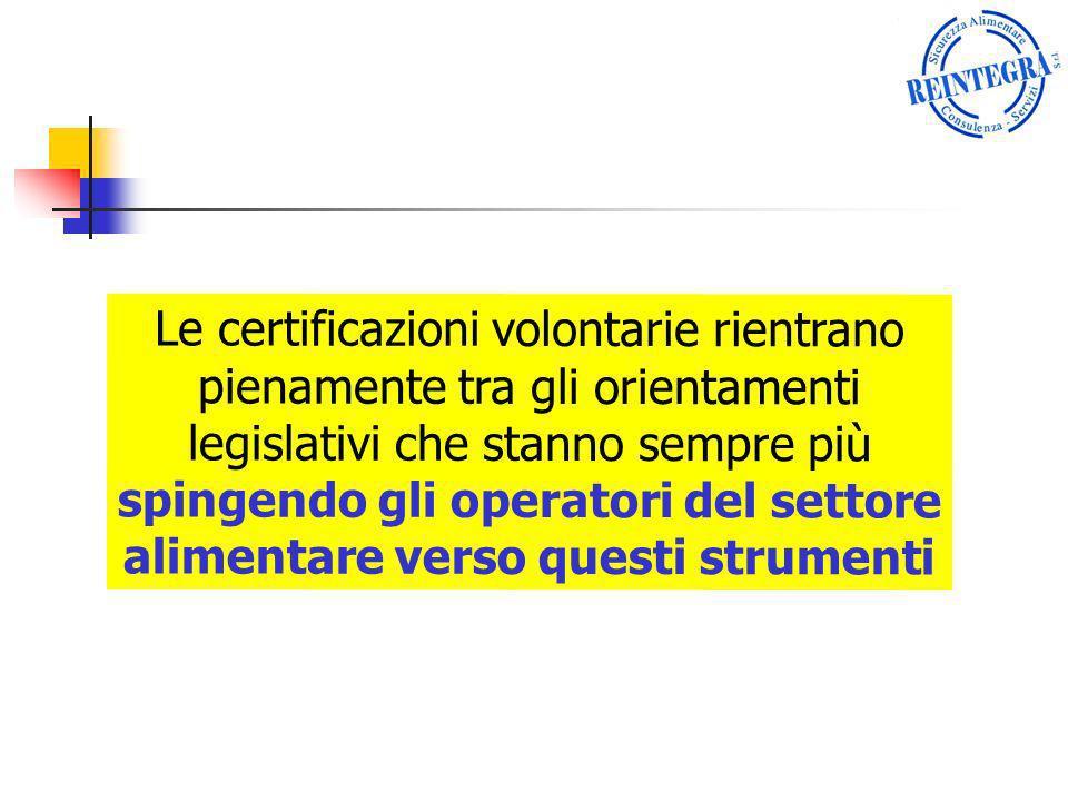 Le certificazioni volontarie rientrano pienamente tra gli orientamenti legislativi che stanno sempre più spingendo gli operatori del settore alimentar
