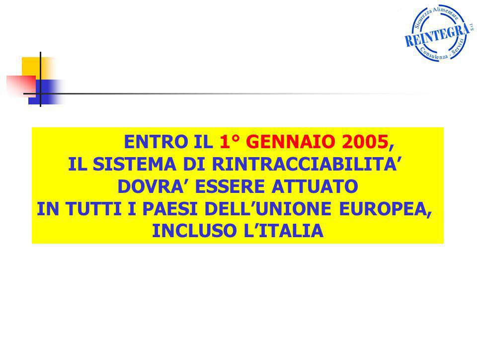ENTRO IL 1° GENNAIO 2005, IL SISTEMA DI RINTRACCIABILITA DOVRA ESSERE ATTUATO IN TUTTI I PAESI DELLUNIONE EUROPEA, INCLUSO LITALIA
