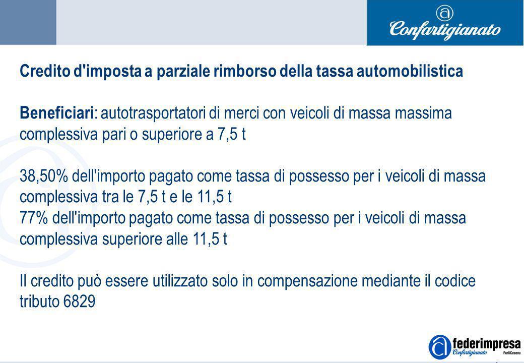 Summer School 4-5 settembre 2006 Enrico Quintavalle – Ufficio Studi Confartigianato 3 Credito d'imposta a parziale rimborso della tassa automobilistic