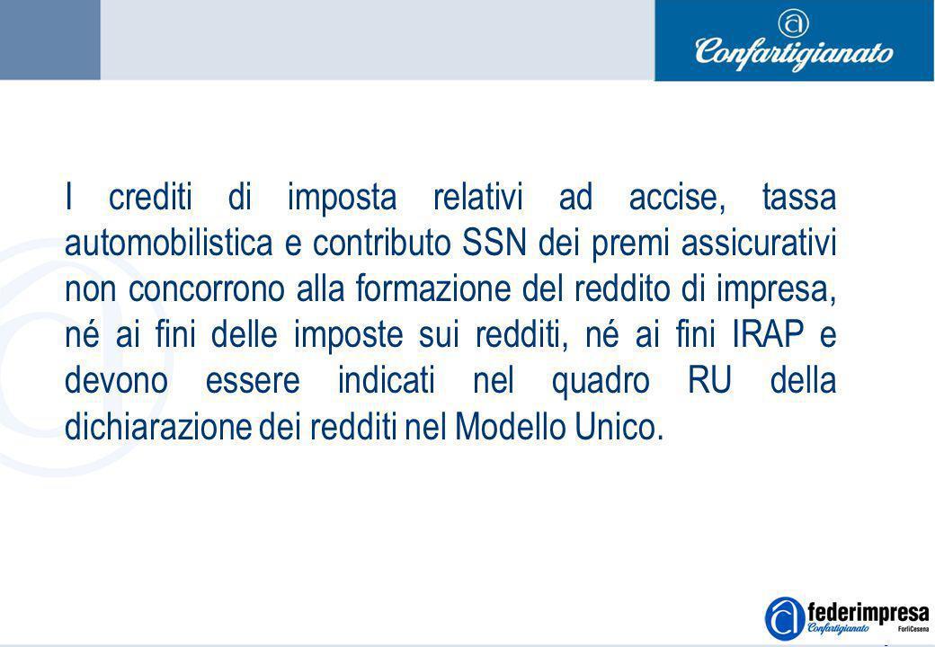 Summer School 4-5 settembre 2006 Enrico Quintavalle – Ufficio Studi Confartigianato 6 I crediti di imposta relativi ad accise, tassa automobilistica e