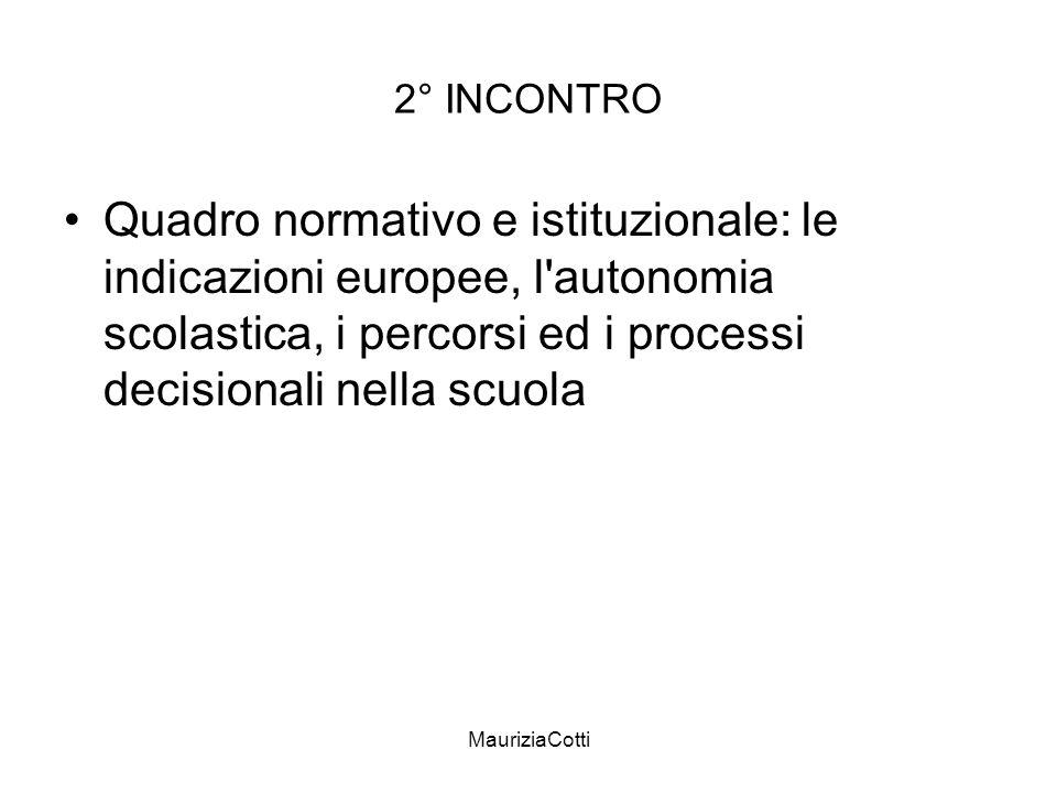 MauriziaCotti 2° INCONTRO Quadro normativo e istituzionale: le indicazioni europee, l'autonomia scolastica, i percorsi ed i processi decisionali nella