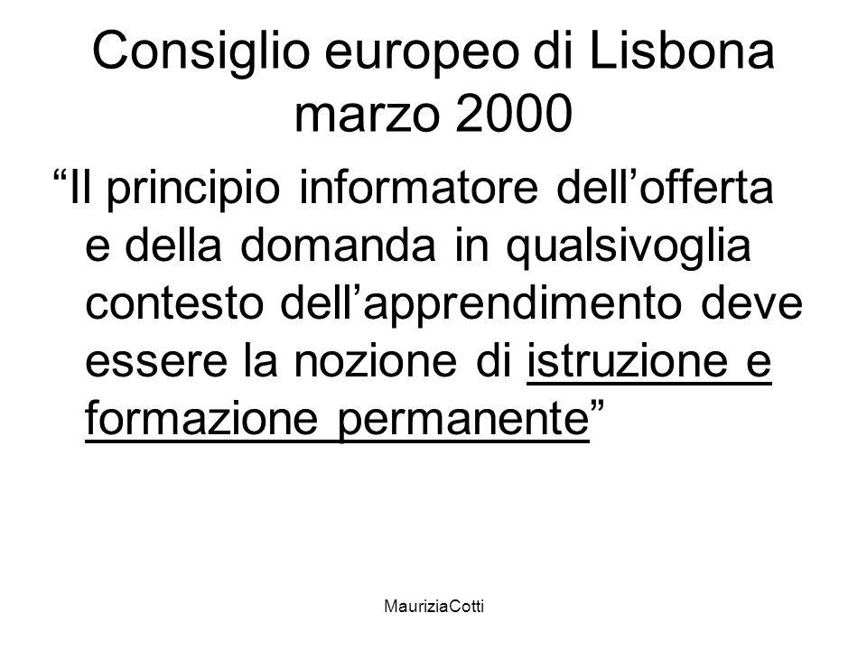 MauriziaCotti Consiglio europeo di Lisbona marzo 2000 Il principio informatore dellofferta e della domanda in qualsivoglia contesto dellapprendimento