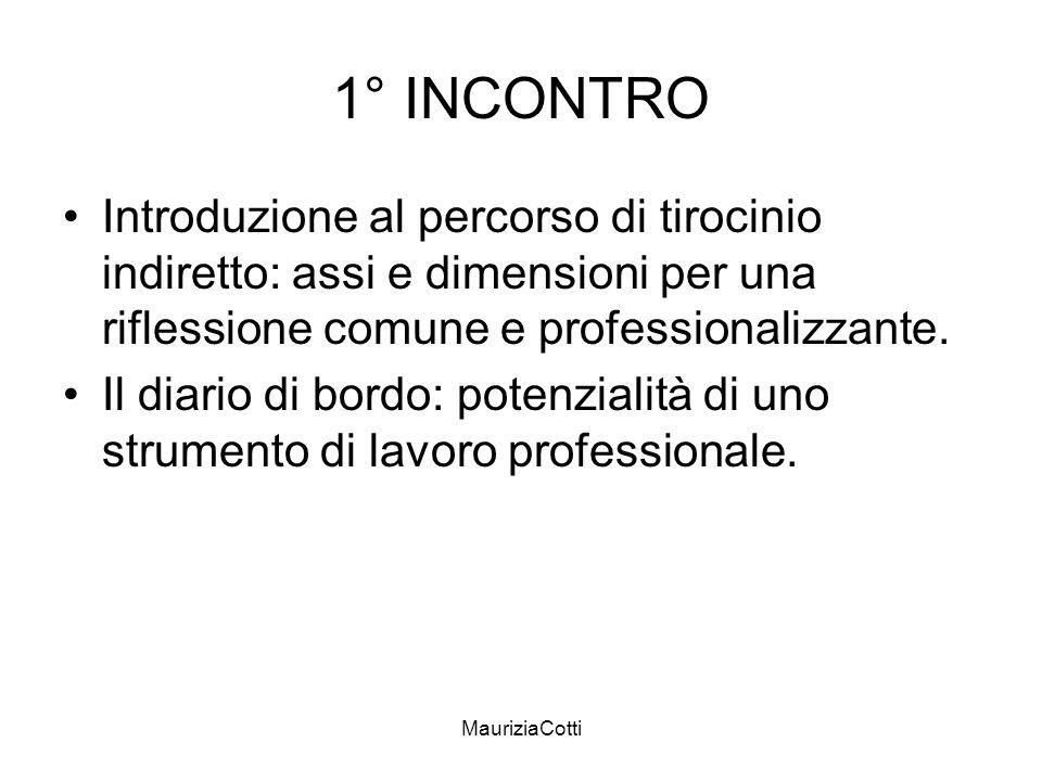 MauriziaCotti 1° INCONTRO Introduzione al percorso di tirocinio indiretto: assi e dimensioni per una riflessione comune e professionalizzante. Il diar