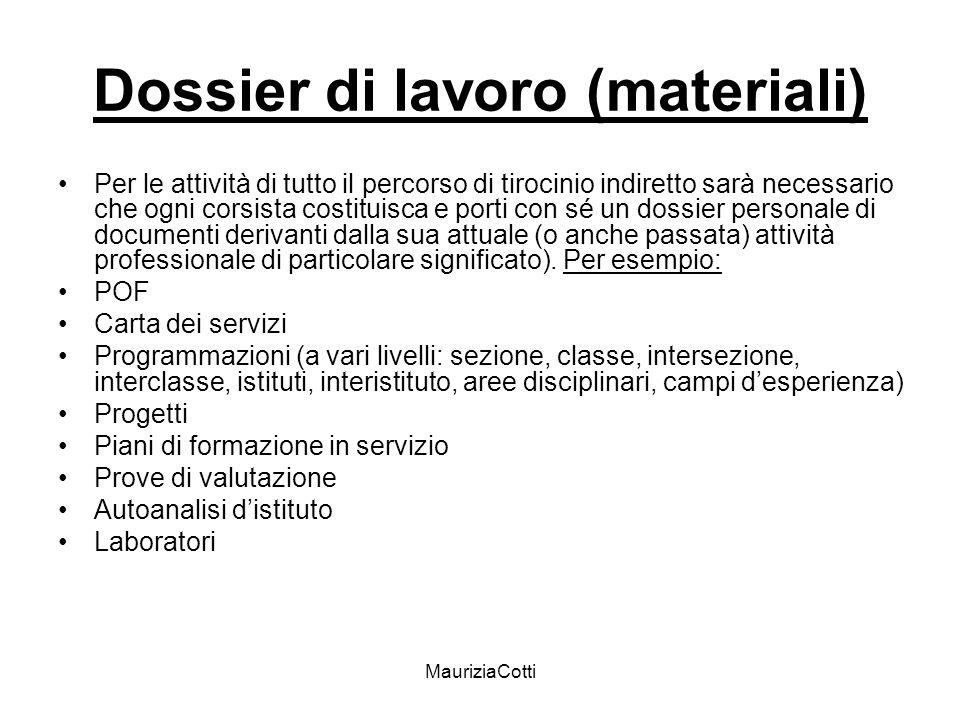 MauriziaCotti Dossier di lavoro (materiali) Per le attività di tutto il percorso di tirocinio indiretto sarà necessario che ogni corsista costituisca