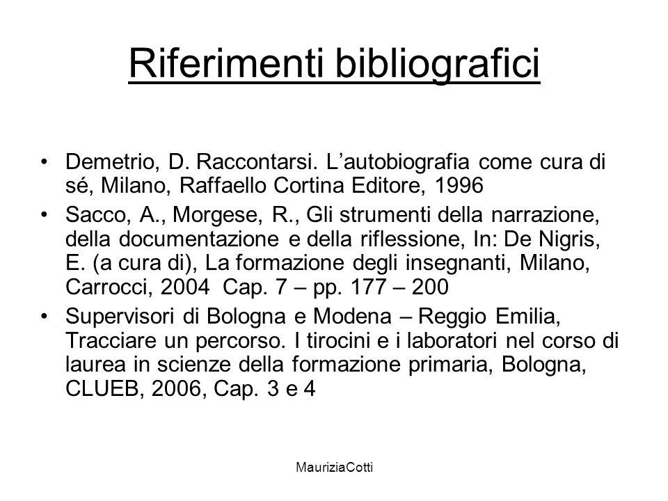 MauriziaCotti Riferimenti bibliografici Demetrio, D. Raccontarsi. Lautobiografia come cura di sé, Milano, Raffaello Cortina Editore, 1996 Sacco, A., M
