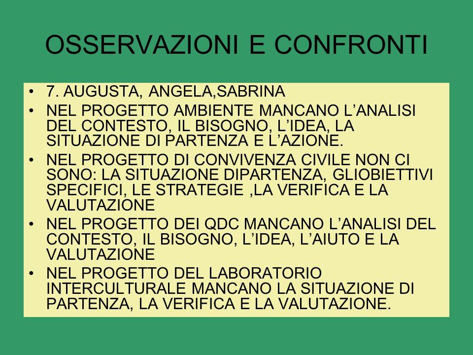 OSSERVAZIONI E CONFRONTI 7.