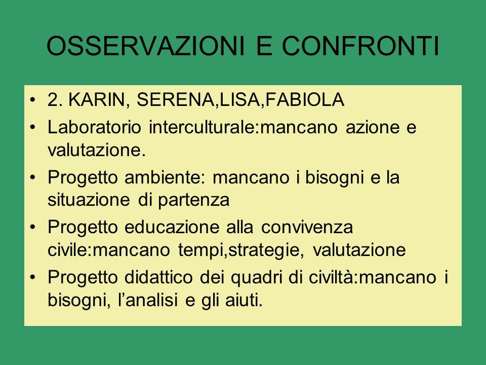 OSSERVAZIONI E CONFRONTI 2.