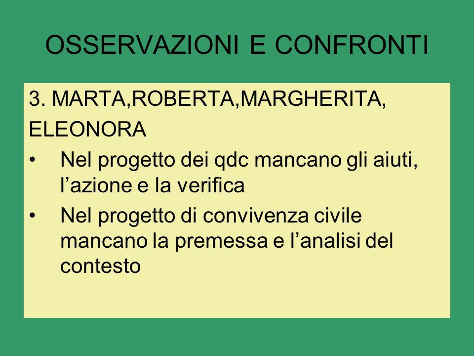 OSSERVAZIONI E CONFRONTI 3.