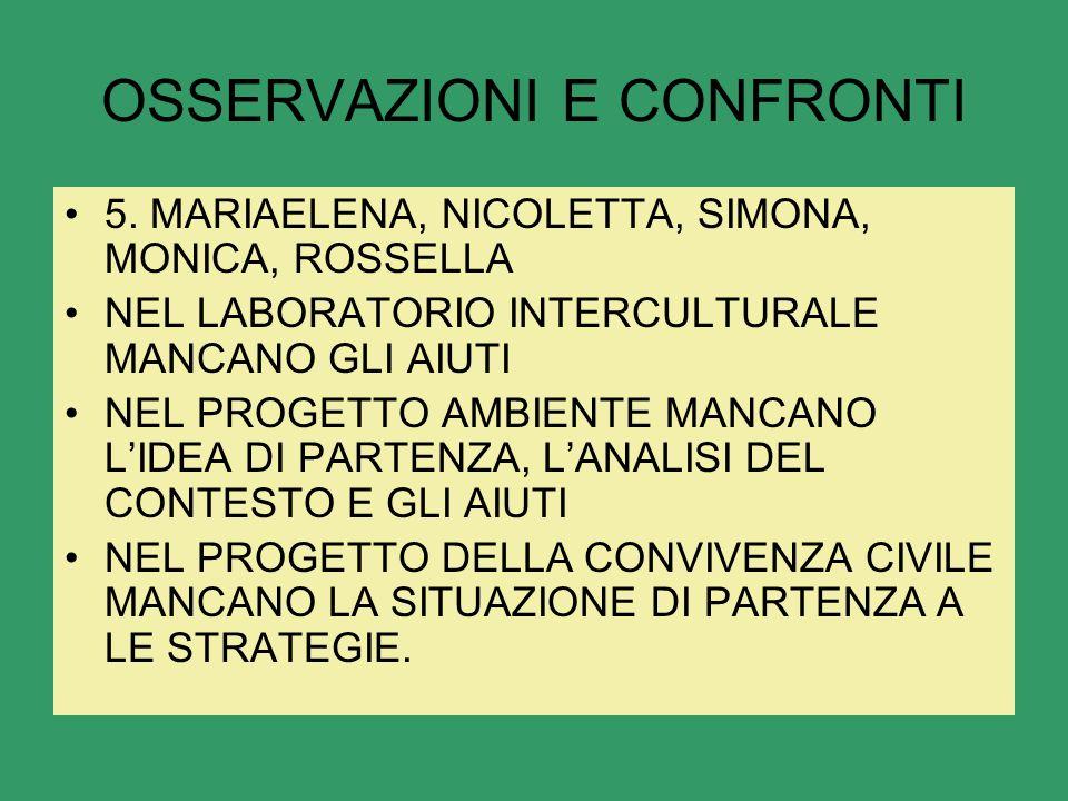 OSSERVAZIONI E CONFRONTI 5.