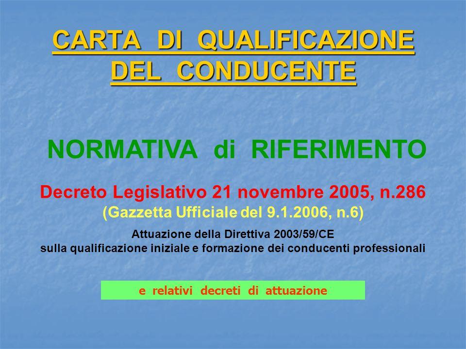 CARTA DI QUALIFICAZIONE DEL CONDUCENTE Decreto Legislativo 21 novembre 2005, n.286 (Gazzetta Ufficiale del 9.1.2006, n.6) Attuazione della Direttiva 2003/59/CE sulla qualificazione iniziale e formazione dei conducenti professionali NORMATIVA di RIFERIMENTO e relativi decreti di attuazione