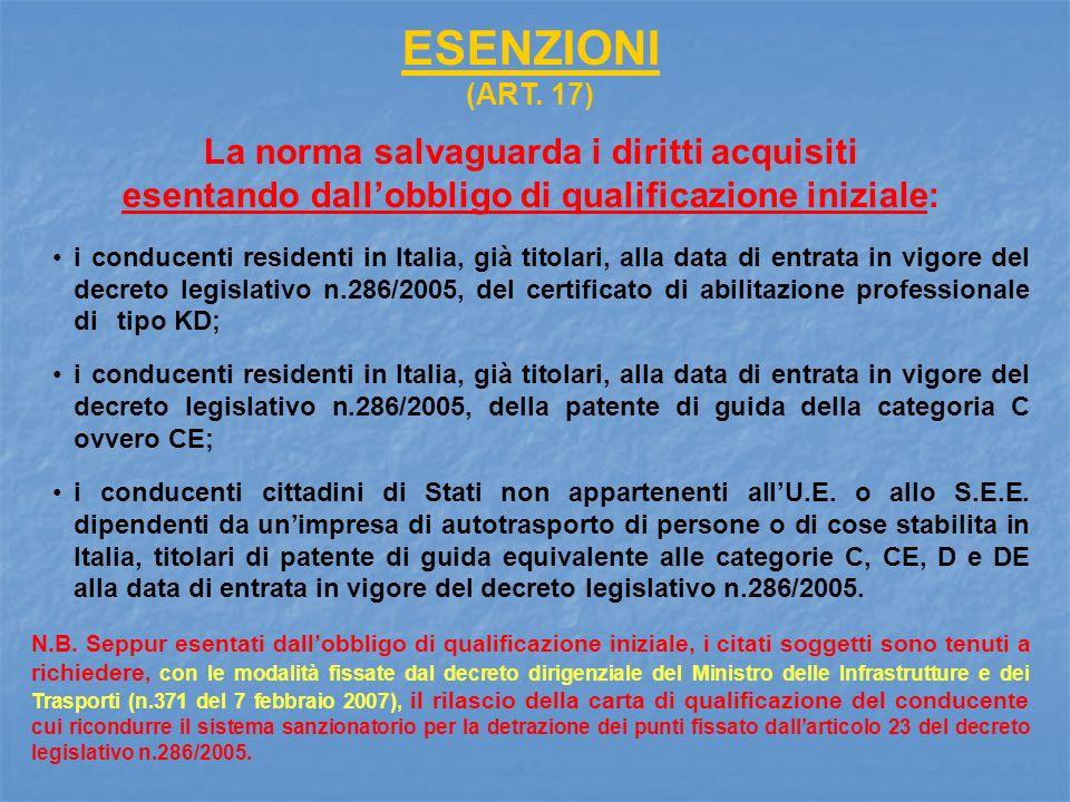 ESENZIONI (ART. 17) La norma salvaguarda i diritti acquisiti esentando dallobbligo di qualificazione iniziale: i conducenti residenti in Italia, già t