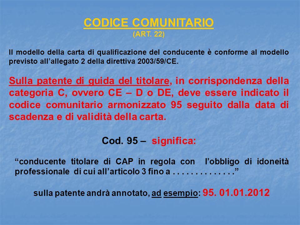 CODICE COMUNITARIO (ART. 22) Il modello della carta di qualificazione del conducente è conforme al modello previsto allallegato 2 della direttiva 2003