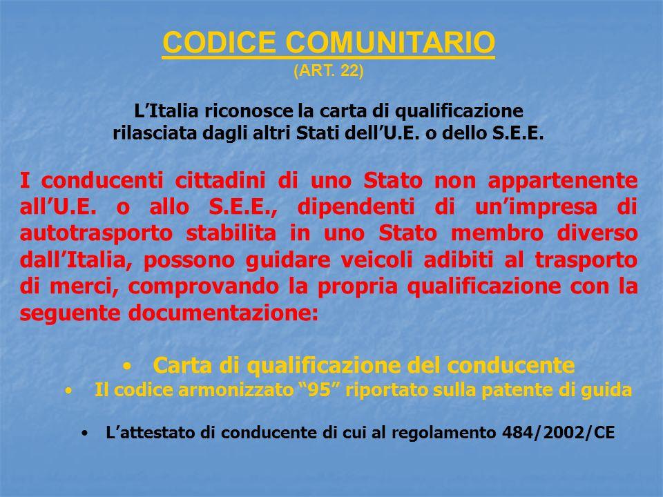 CODICE COMUNITARIO (ART. 22) LItalia riconosce la carta di qualificazione rilasciata dagli altri Stati dellU.E. o dello S.E.E. I conducenti cittadini