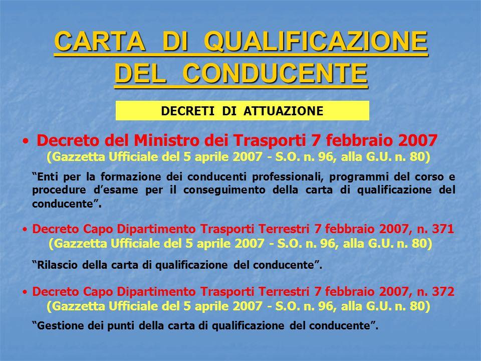 CARTA DI QUALIFICAZIONE DEL CONDUCENTE Decreto del Ministro dei Trasporti 7 febbraio 2007 (Gazzetta Ufficiale del 5 aprile 2007 - S.O. n. 96, alla G.U