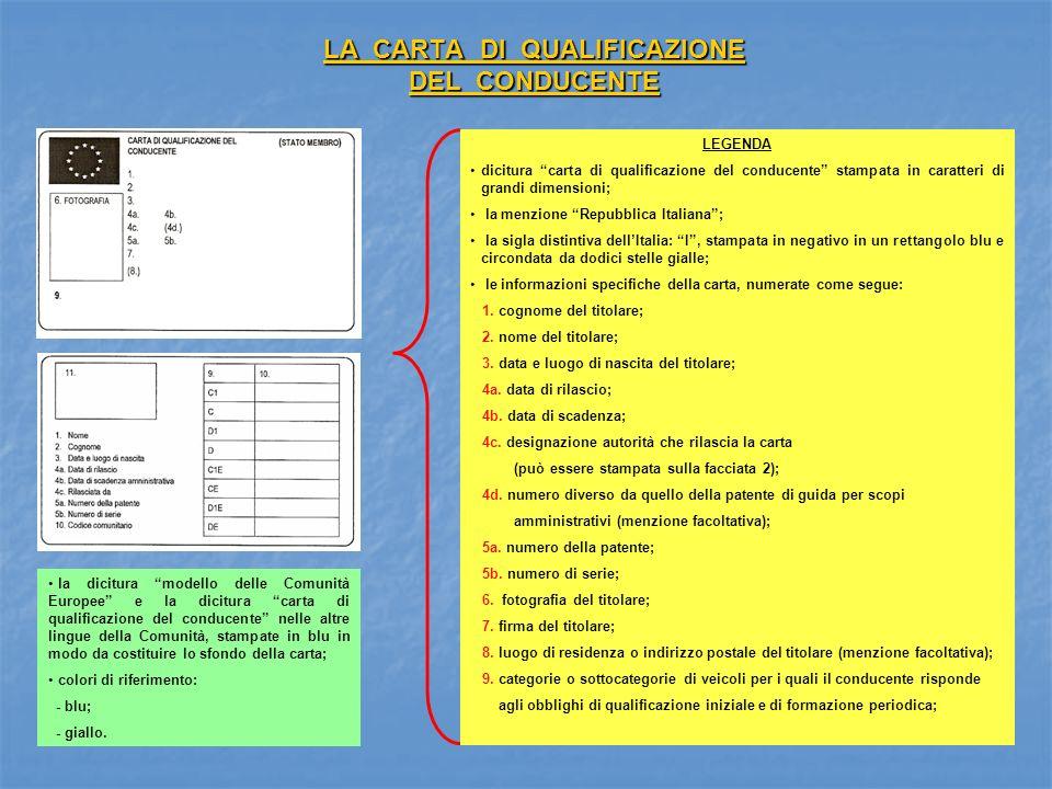 LA CARTA DI QUALIFICAZIONE DEL CONDUCENTE LEGENDA dicitura carta di qualificazione del conducente stampata in caratteri di grandi dimensioni; la menzi