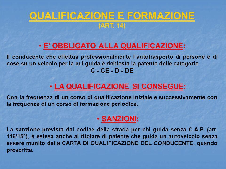 QUALIFICAZIONE E FORMAZIONE (ART. 14) E OBBLIGATO ALLA QUALIFICAZIONE: Il conducente che effettua professionalmente lautotrasporto di persone e di cos