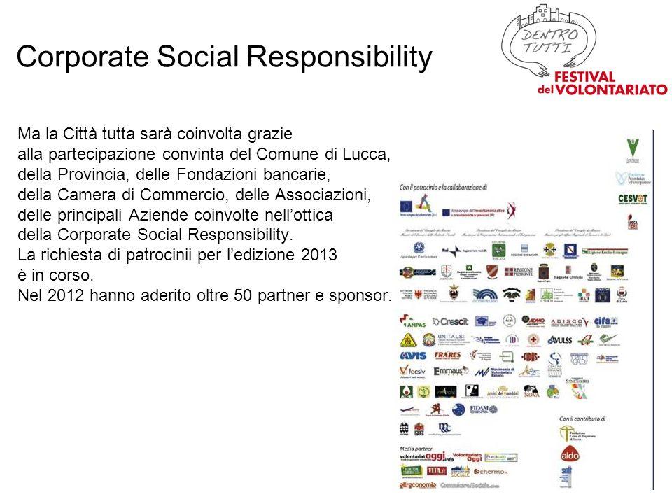 Ma la Città tutta sarà coinvolta grazie alla partecipazione convinta del Comune di Lucca, della Provincia, delle Fondazioni bancarie, della Camera di Commercio, delle Associazioni, delle principali Aziende coinvolte nellottica della Corporate Social Responsibility.