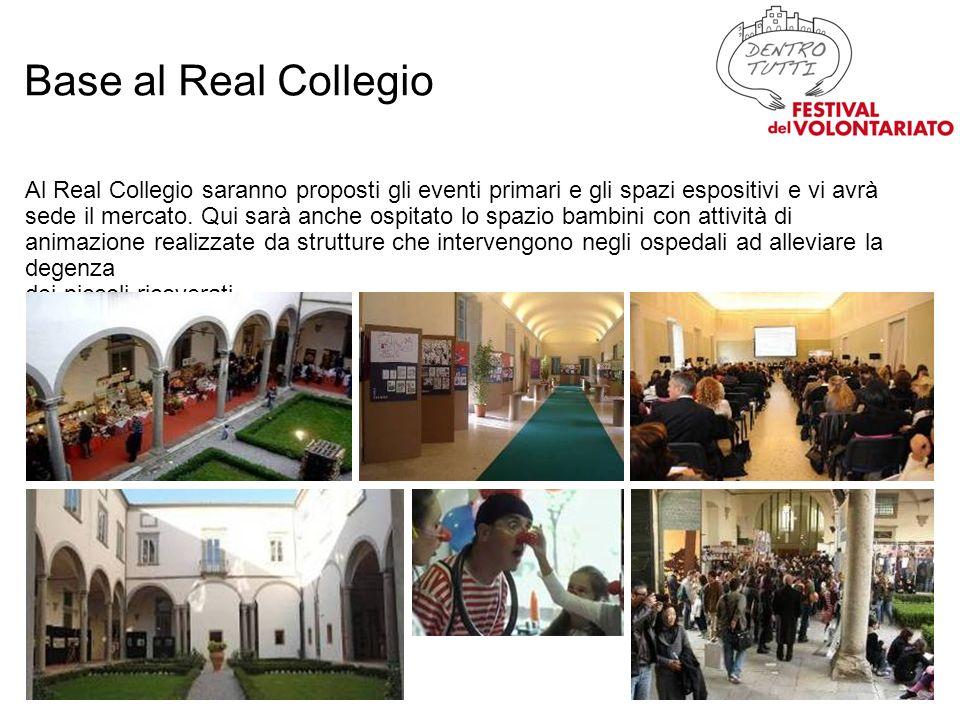 Al Real Collegio saranno proposti gli eventi primari e gli spazi espositivi e vi avrà sede il mercato.