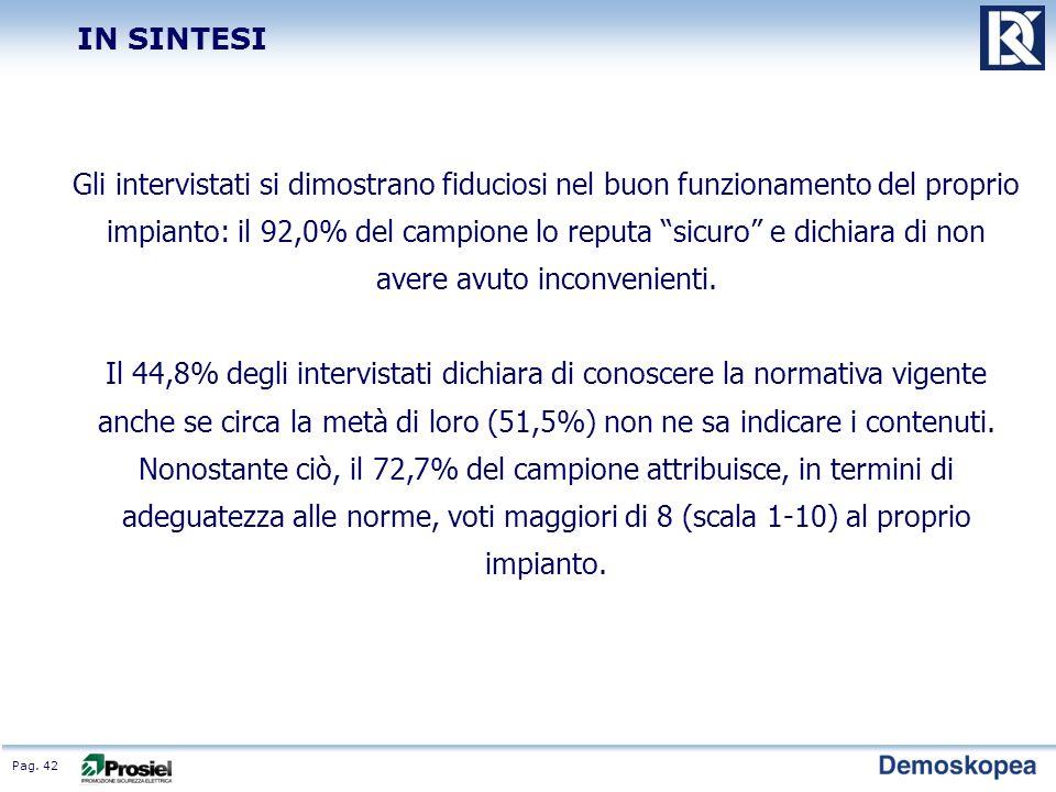 Pag. 42 Gli intervistati si dimostrano fiduciosi nel buon funzionamento del proprio impianto: il 92,0% del campione lo reputa sicuro e dichiara di non