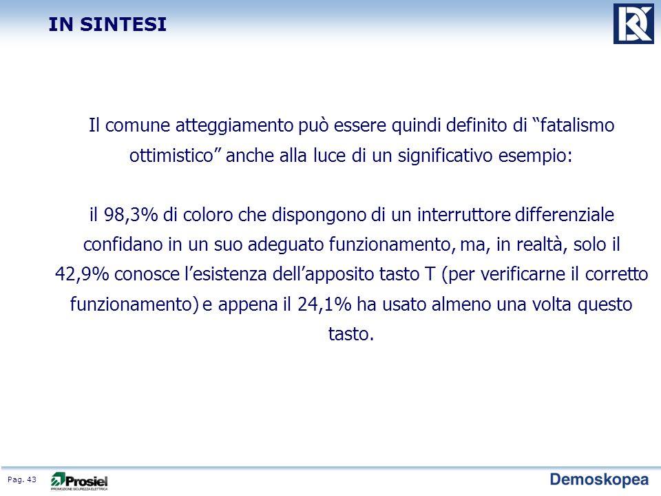 Pag. 43 Il comune atteggiamento può essere quindi definito di fatalismo ottimistico anche alla luce di un significativo esempio: il 98,3% di coloro ch