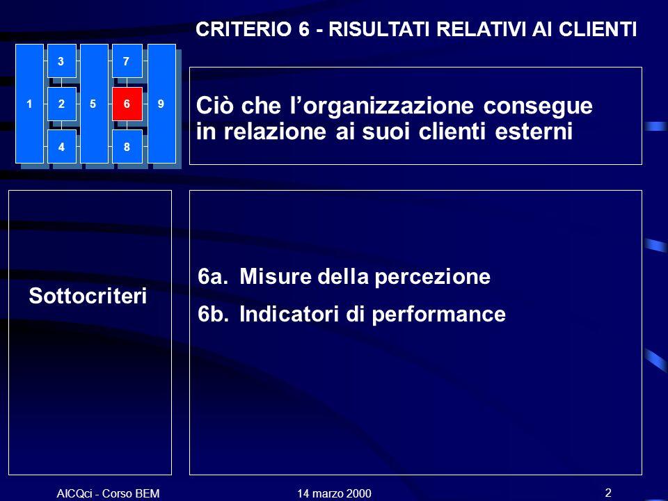 AICQci - Corso BEM Alenia 14 marzo 200013 LEADERSHIP 10% GESTIONE DEL PERSONALE 9% POLITICHE E STRATEGIE 8% PARTNERSHIP E RISORSE 9% PROCESSI 14% RISULTATI RELATIVI AL PERSONALE 9% RISULTATI RELATIVI AI CLIENTI 20% RISULTATI RELATIVI ALLA SOCIETA 6% RISULTATI CHIAVE DI PERFORMANCE 15%