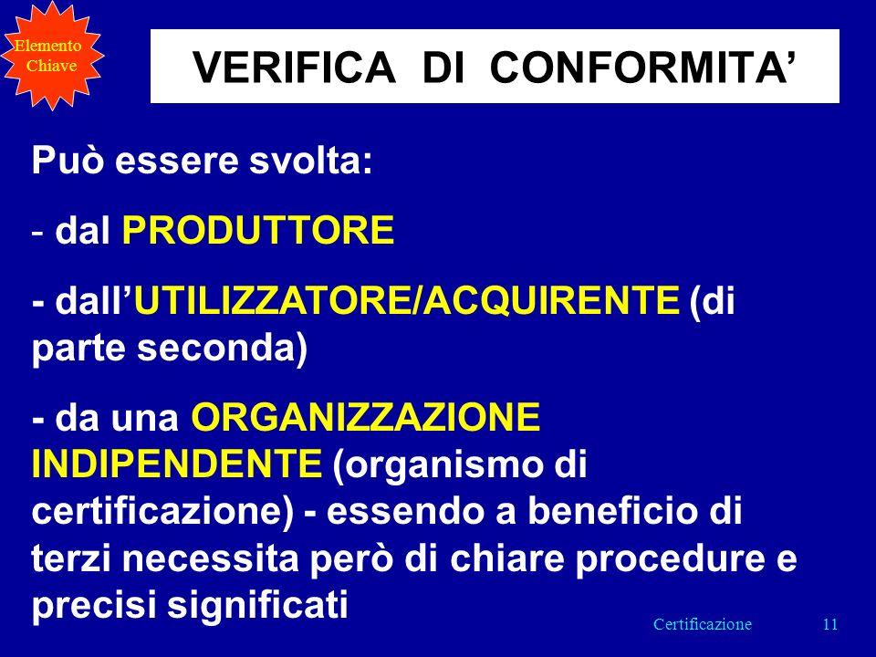 Può essere svolta: - dal PRODUTTORE - dallUTILIZZATORE/ACQUIRENTE (di parte seconda) - da una ORGANIZZAZIONE INDIPENDENTE (organismo di certificazione) - essendo a beneficio di terzi necessita però di chiare procedure e precisi significati VERIFICA DI CONFORMITA Elemento Chiave 11Certificazione