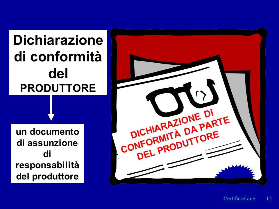 Dichiarazione di conformità del PRODUTTORE DICHIARAZIONE DI CONFORMITÀ DA PARTE DEL PRODUTTORE un documento di assunzione di responsabilità del produttore 12Certificazione