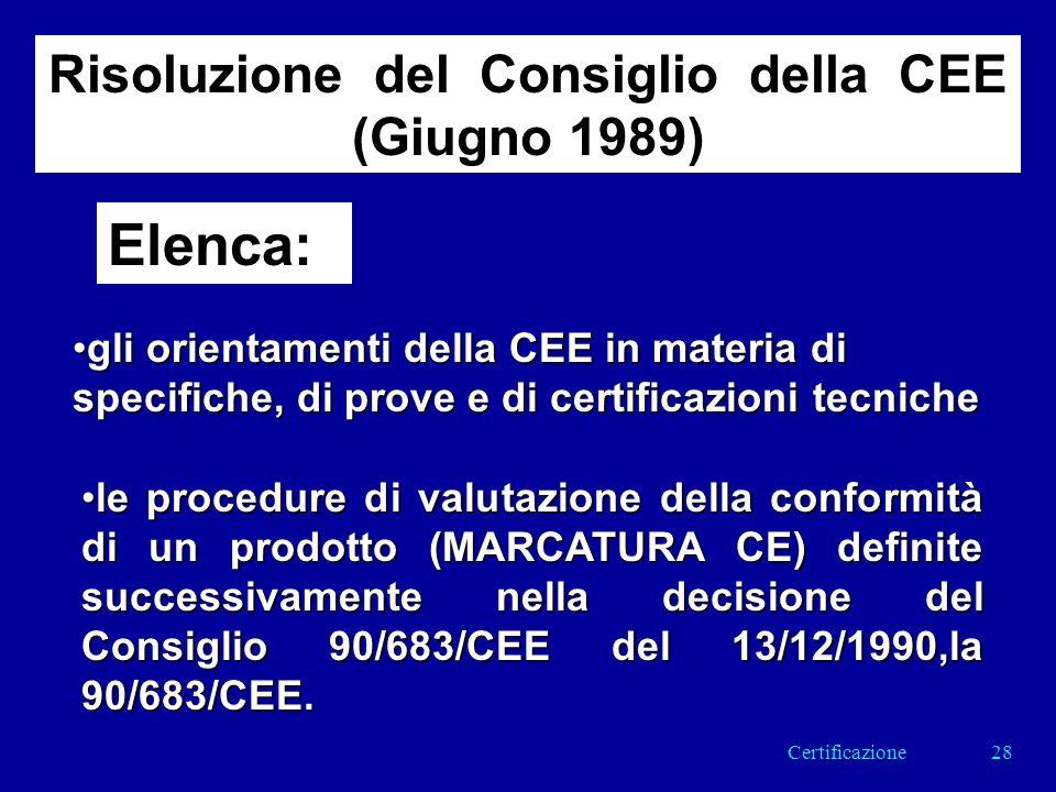 Risoluzione del Consiglio della CEE (Giugno 1989) Elenca: gli orientamenti della CEE in materia di specifiche, di prove e di certificazioni tecnichegli orientamenti della CEE in materia di specifiche, di prove e di certificazioni tecniche le procedure di valutazione della conformità di un prodotto (MARCATURA CE) definite successivamente nella decisione del Consiglio 90/683/CEE del 13/12/1990,la 90/683/CEE.le procedure di valutazione della conformità di un prodotto (MARCATURA CE) definite successivamente nella decisione del Consiglio 90/683/CEE del 13/12/1990,la 90/683/CEE.