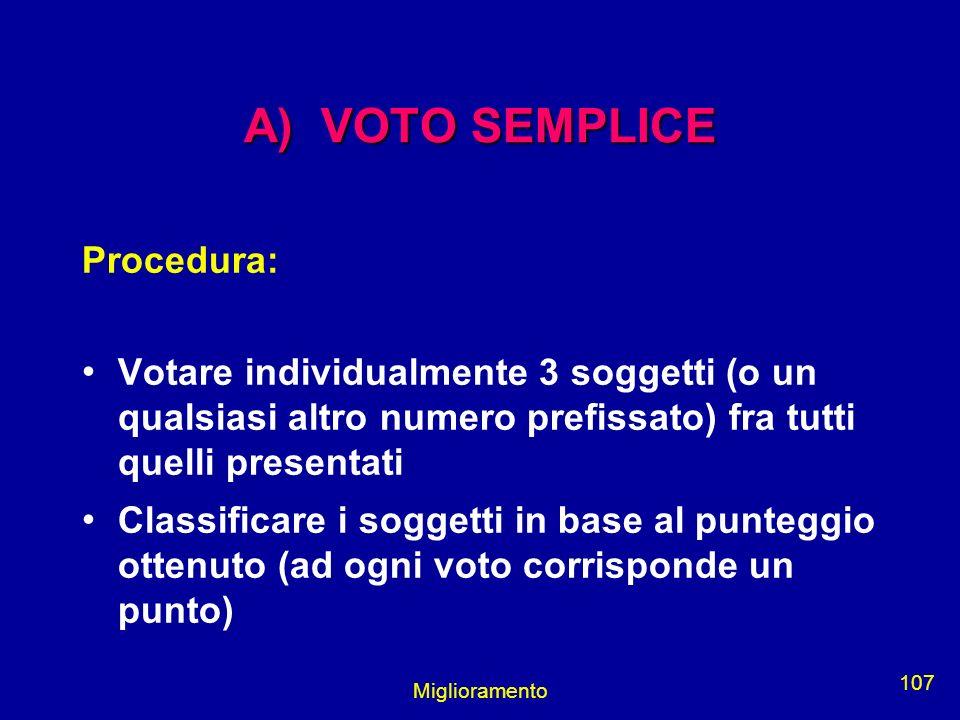 Miglioramento 107 A) VOTO SEMPLICE Procedura: Votare individualmente 3 soggetti (o un qualsiasi altro numero prefissato) fra tutti quelli presentati C