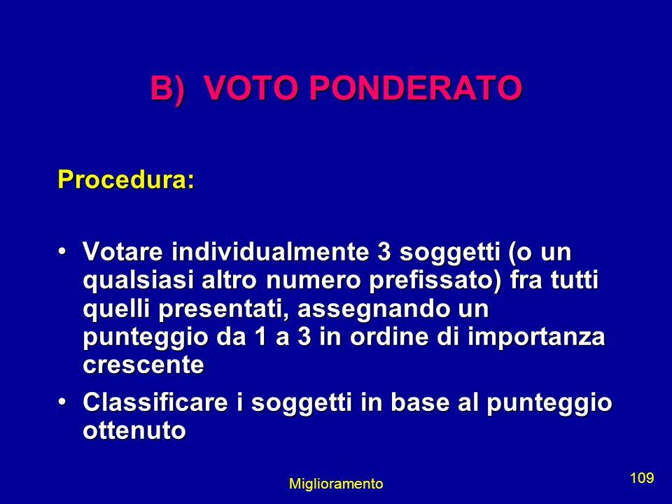 Miglioramento 109 B) VOTO PONDERATO Procedura: Votare individualmente 3 soggetti (o un qualsiasi altro numero prefissato) fra tutti quelli presentati,