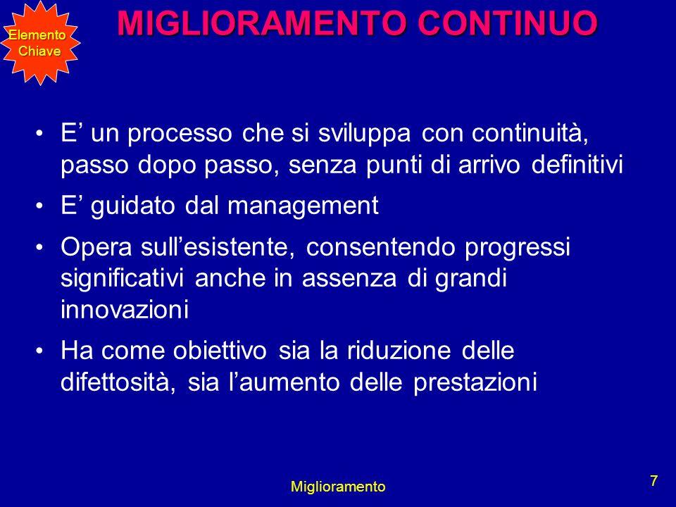 Miglioramento 7 MIGLIORAMENTO CONTINUO MIGLIORAMENTO CONTINUO E un processo che si sviluppa con continuità, passo dopo passo, senza punti di arrivo de