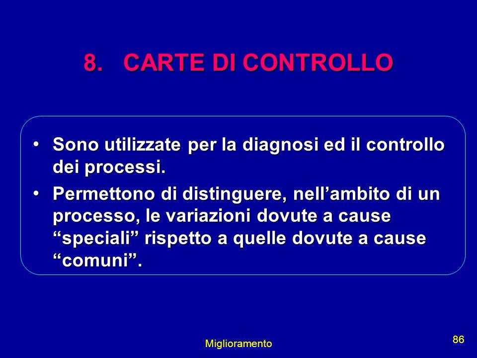 Miglioramento 86 8. CARTE DI CONTROLLO Sono utilizzate per la diagnosi ed il controllo dei processi. Sono utilizzate per la diagnosi ed il controllo d