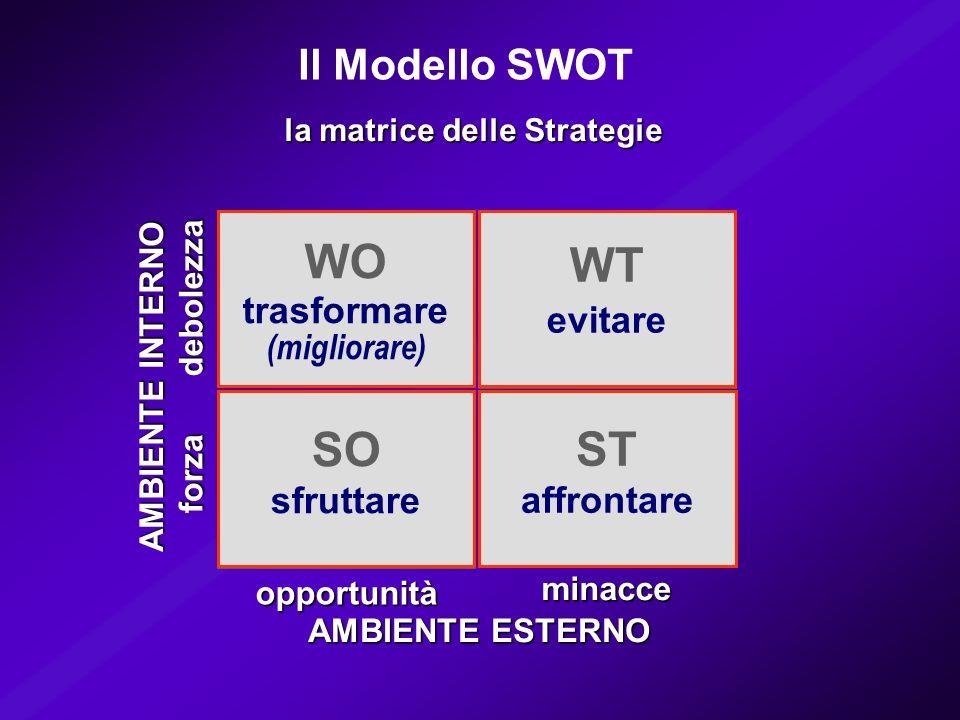SO (forza/opportunità) WO (debolezza/opportunità) WT (debolezza/minacce) ST (forza/minacce) minacce opportunità AMBIENTE ESTERNO debolezza forza AMBIE