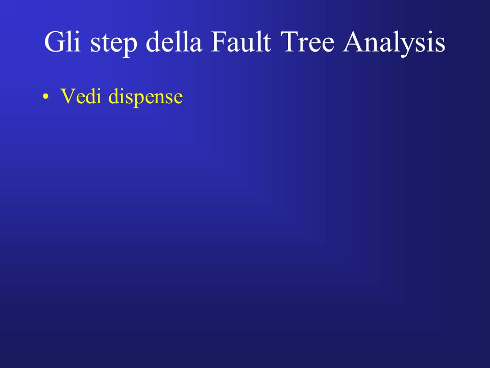 Gli step della Fault Tree Analysis Vedi dispense