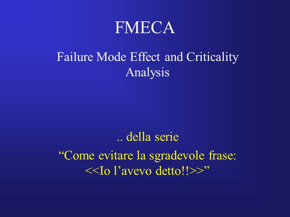 FMECA Failure Mode Effect and Criticality Analysis.. della serie Come evitare la sgradevole frase: >