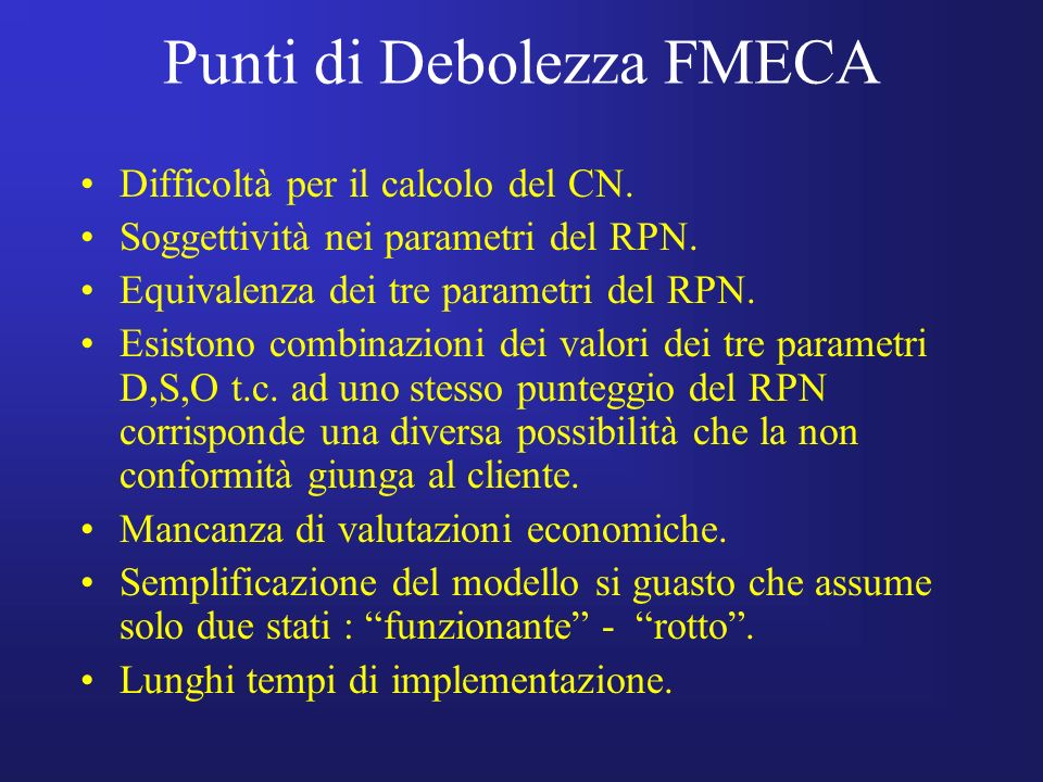 Punti di Debolezza FMECA Difficoltà per il calcolo del CN. Soggettività nei parametri del RPN. Equivalenza dei tre parametri del RPN. Esistono combina