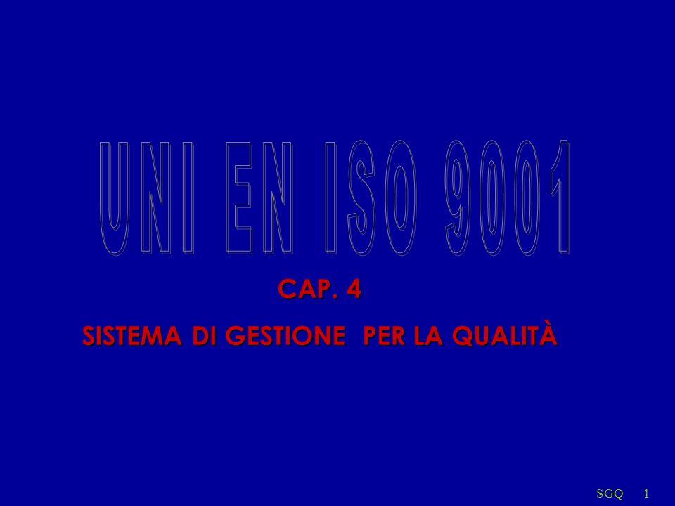 SGQ2 4.1 Requisiti generali NORMA ITALIANA Sistemi di gesione per la qualità Requisiti UNI EN ISO 9001 DICEMBRE 2000 4.1Requisiti generali Lorganizzazione deve stabilire, documentare, attuare e tenere aggiornato il sistema di gestione per la qualità, nonché migliorarne, con continuità, lefficacia in accordo con i requisiti della presente norma internazionale.