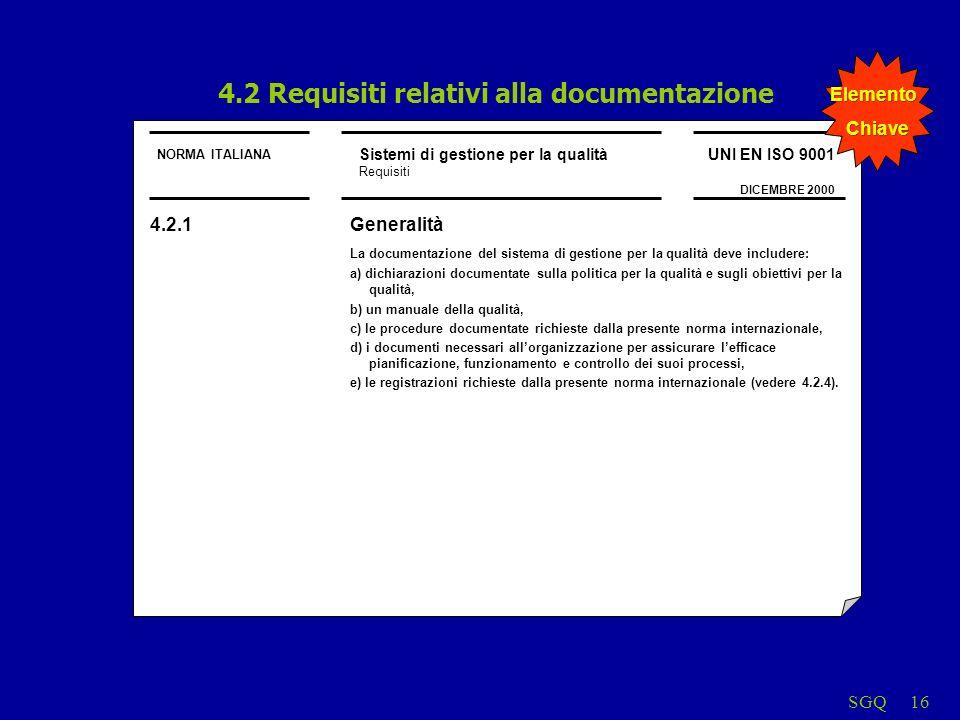 SGQ16 NORMA ITALIANA Sistemi di gestione per la qualità Requisiti UNI EN ISO 9001 DICEMBRE 2000 4.2 Requisiti relativi alla documentazione 4.2.1Generalità La documentazione del sistema di gestione per la qualità deve includere: a) dichiarazioni documentate sulla politica per la qualità e sugli obiettivi per la qualità, b) un manuale della qualità, c) le procedure documentate richieste dalla presente norma internazionale, d) i documenti necessari allorganizzazione per assicurare lefficace pianificazione, funzionamento e controllo dei suoi processi, e) le registrazioni richieste dalla presente norma internazionale (vedere 4.2.4).