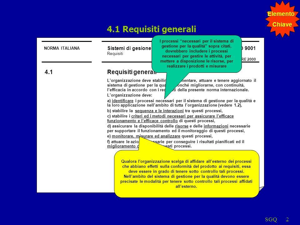 SGQ2 4.1 Requisiti generali NORMA ITALIANA Sistemi di gesione per la qualità Requisiti UNI EN ISO 9001 DICEMBRE 2000 4.1Requisiti generali Lorganizzaz