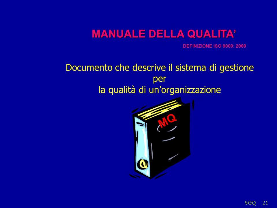 SGQ21 MQ MANUALE DELLA QUALITA DEFINIZIONE ISO 9000: 2000 Documento che descrive il sistema di gestione per la qualità di unorganizzazione