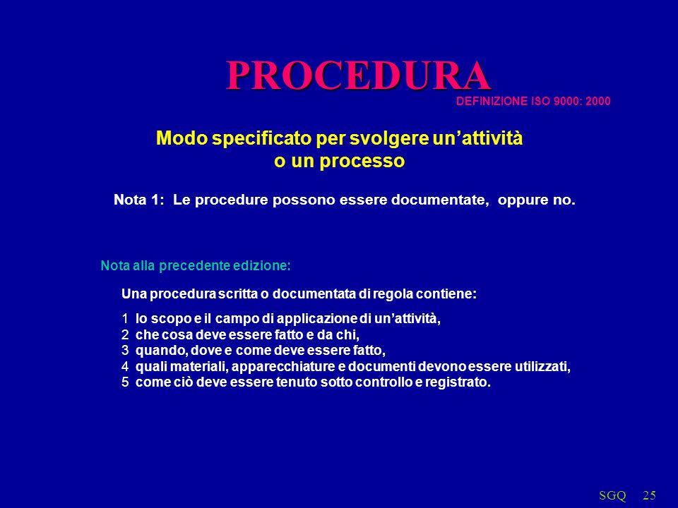 SGQ25 Modo specificato per svolgere unattività o un processo Nota 1: Le procedure possono essere documentate, oppure no. Una procedura scritta o docum