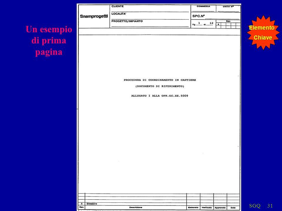 SGQ31 Un esempio di prima pagina ElementoChiave
