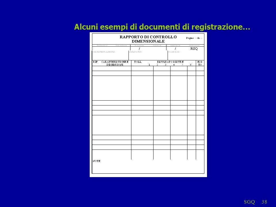 SGQ38 Alcuni esempi di documenti di registrazione…