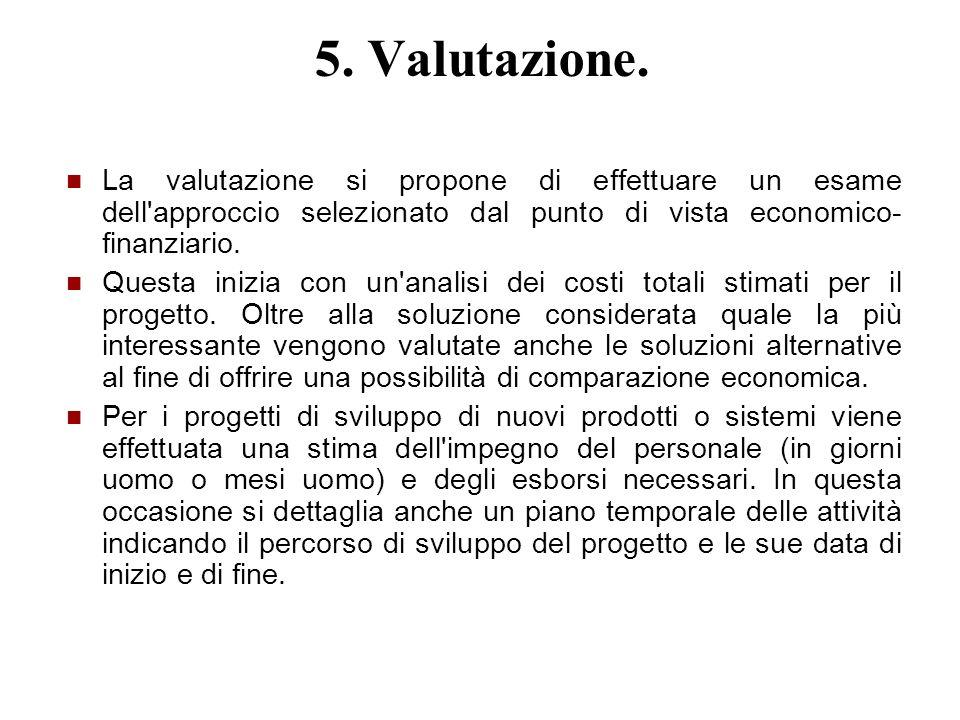 5. Valutazione. La valutazione si propone di effettuare un esame dell'approccio selezionato dal punto di vista economico- finanziario. Questa inizia c