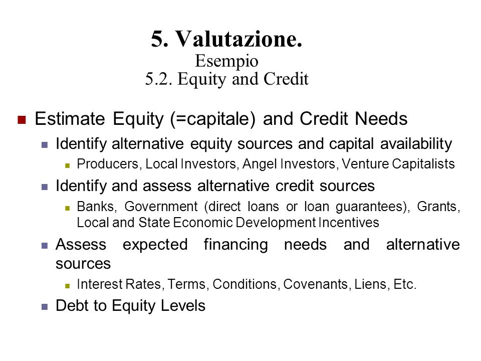 5. Valutazione. Esempio 5.2. Equity and Credit Estimate Equity (=capitale) and Credit Needs Identify alternative equity sources and capital availabili