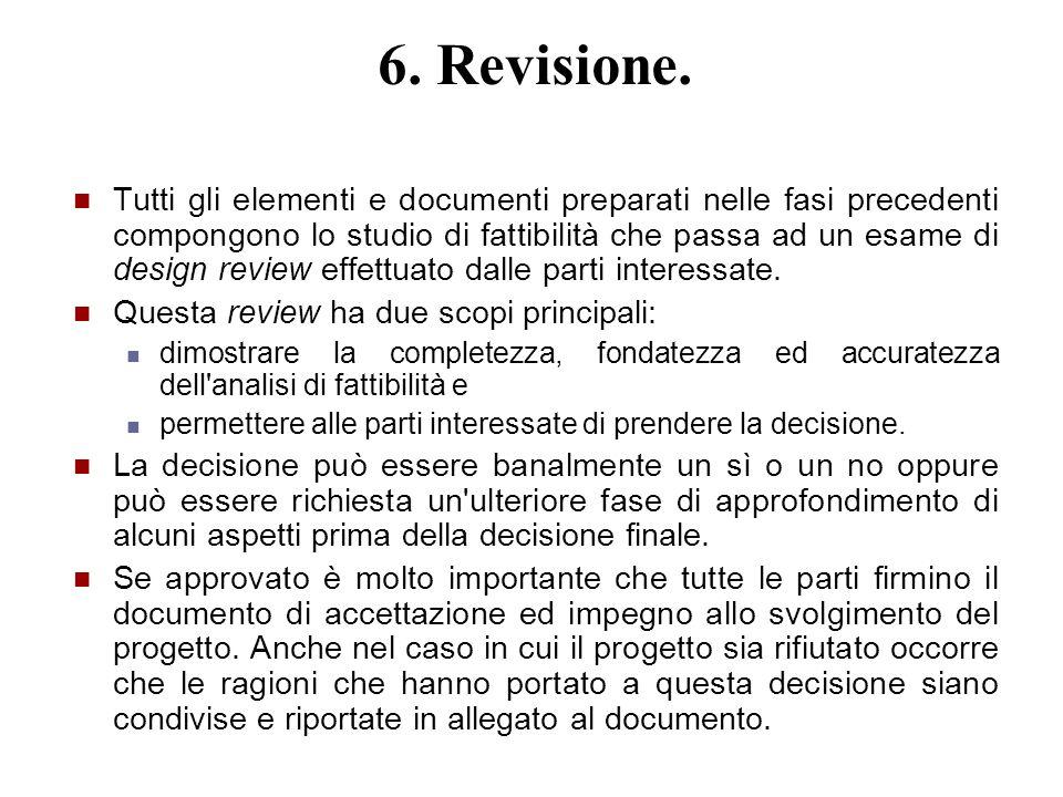 6. Revisione. Tutti gli elementi e documenti preparati nelle fasi precedenti compongono lo studio di fattibilità che passa ad un esame di design revie
