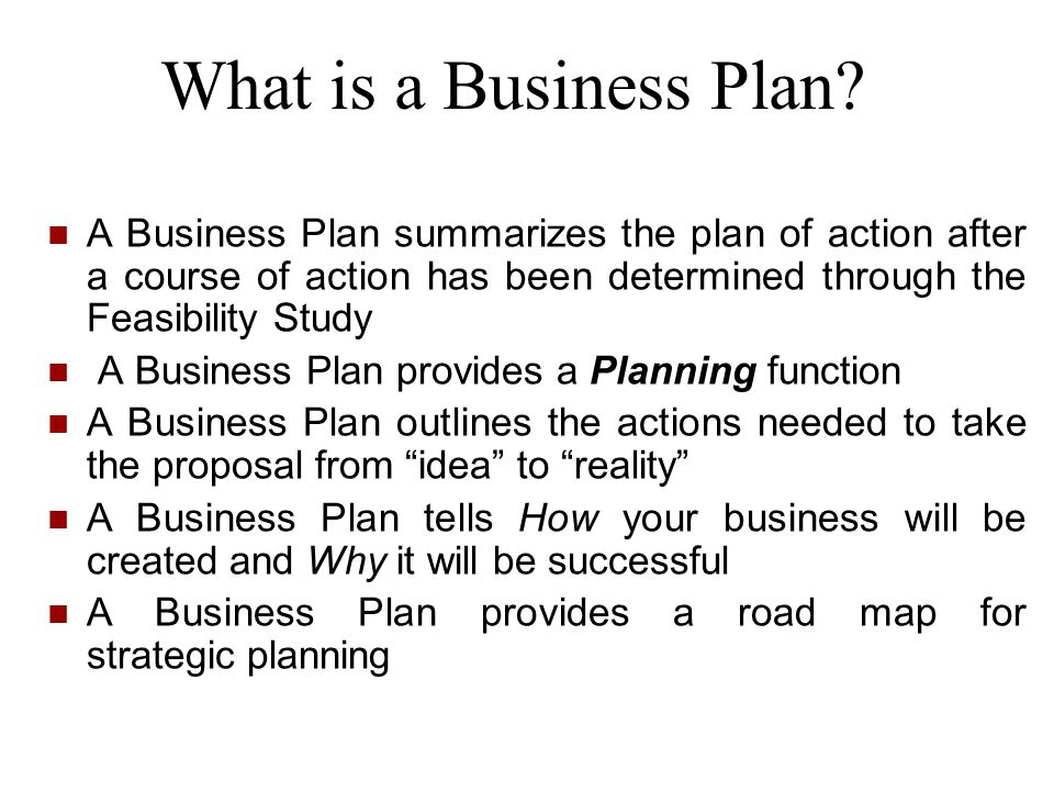 What is a Business Plan? A Business Plan summarizes the plan of action after a course of action has been determined through the Feasibility Study A Bu