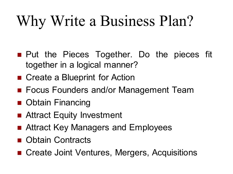 Why Write a Business Plan? Put the Pieces Together. Do the pieces fit together in a logical manner? Create a Blueprint for Action Focus Founders and/o