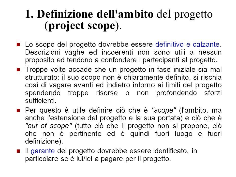 1. Definizione dell'ambito del progetto (project scope). Lo scopo del progetto dovrebbe essere definitivo e calzante. Descrizioni vaghe ed incoerenti